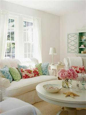 Colorful throw pillows that brighten up the room.