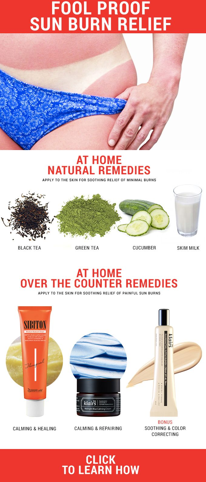 Got a nasty sunburn? Check out our at home sunburn relief and our best over the counter sunburn relief creams to heal your damaged skin fast! - http://www.wishtrendglam.com/fool-proof-sunburn-relief/ #sunburn #sunburnrelief #redskin #vacation #skincare #natural #athome