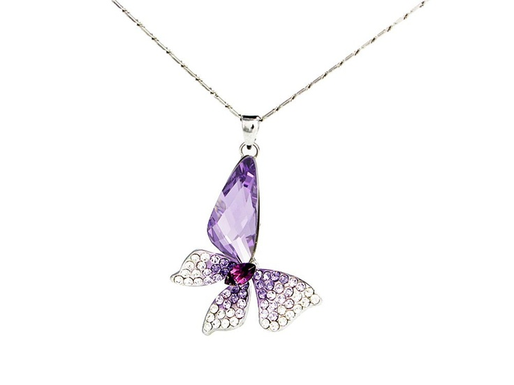 Stylized Butterfly Wing Drop Swarovski Elements Crystal Pendant Necklace (Purple) W 18k White Gold-plated Chain I <3 this!