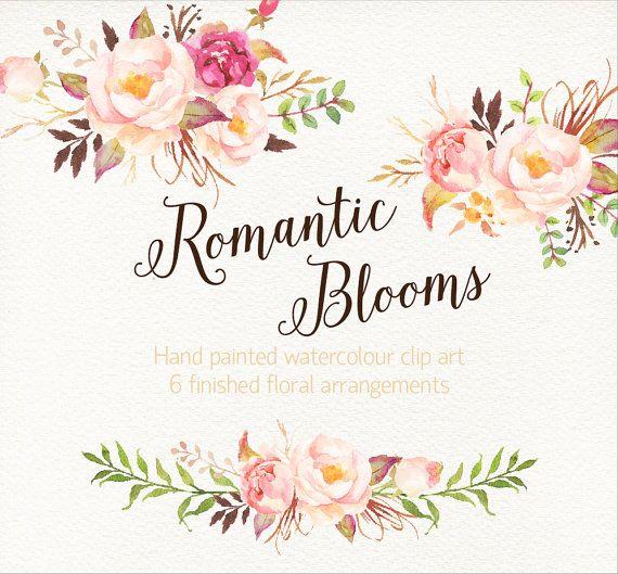 Romantic Blooms Watercolour Clip by GraphicSafari on Etsy