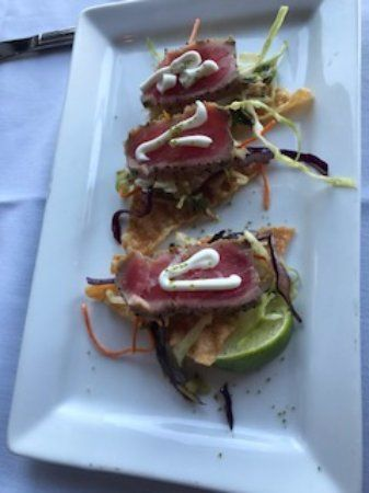 Ahi Tuna, tasty but very little tuna, Lighthouse Bistro and Pub 50 anchor way, Nanaimo, British