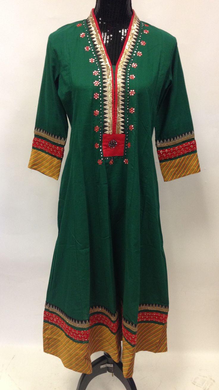 Anarkali Style Long Kurta-Green