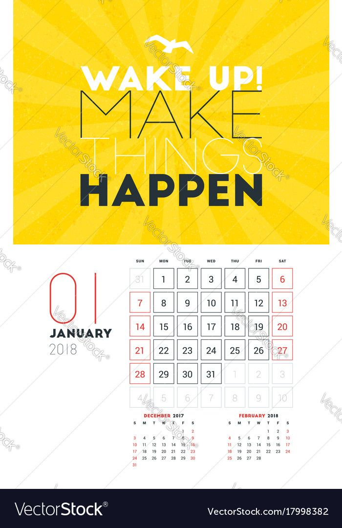 Wall Calendar Template for January 2018. Vector Design Print ...