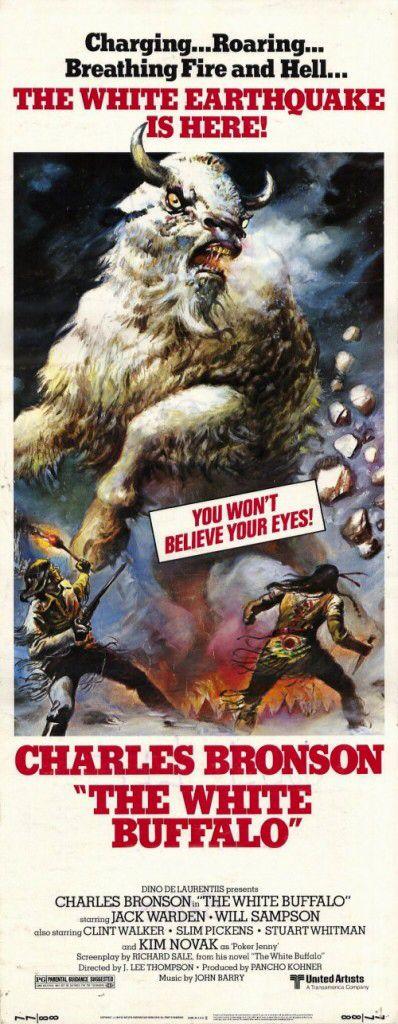 THE WHITE BUFFALO (1978) - Charles Bronson - Jack   Warden - Will Sampson  - Clint Walker - Slim Pickens - Stuart Whitman - Kim Novak - Based on novel by Richard Sale - Directed by J. Lee Thompson - United Artists - Insert Movie Poster.