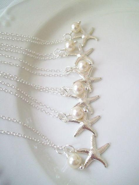 Set Of 6 Bridesmaid Necklaces,Swarovski Pearls, Silver Starfish, Pearl & Starfish Necklace, Beach Nautical Wedding, Set of 6 Necklaces