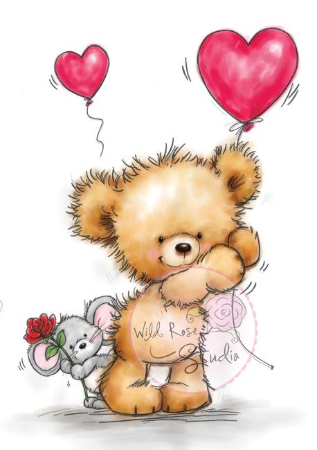 ❤️️️Wild Rose Studio ~ Teddy and Mouse