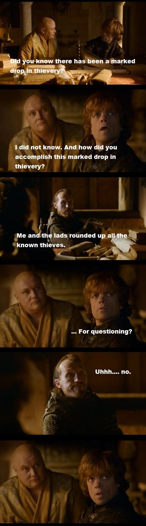 Lord Varys, Tyrion Lannister, & Bronn. These three together are some of my favorite moments.