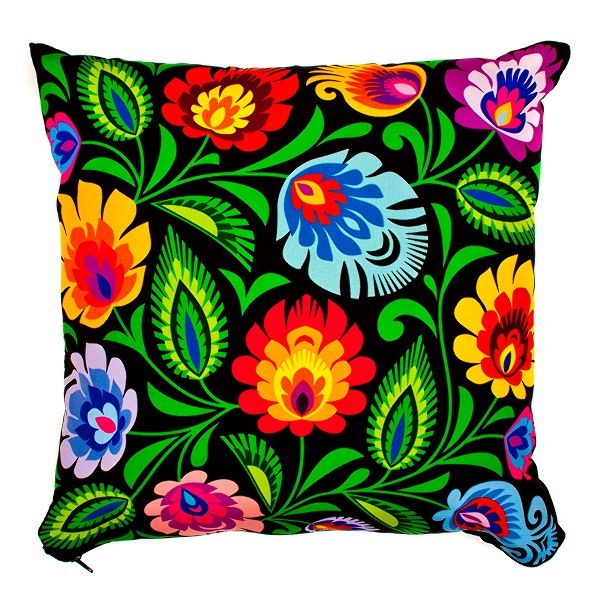 Embroidered pillow ( Polish folk art )... I really like this embroidery - unfortunately, it's only available in Poland. If you don't want to get involved with foreign exchange, check out our Living Room Decor blog, http://livingroomdecor.tropicalhouseplants.net/colorful-flowers-linen-cotton-handmade-embroidery-cushion-case/, for an alternative.