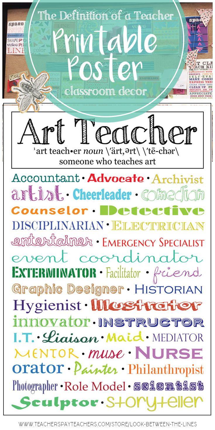 The Definition Of An Art Teacher Art Classroom Decoration