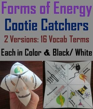 Forms of Energy Cootie Catchers/ Fortune Tellers: These cootie catchers are a great way for students to have fun while learning about the different forms of Energy. There are two versions which contain the following vocabulary terms: Energy, Thermal energy, Nuclear energy, Chemical energy, Radiant energy, Sound/ Acoustic energy, Friction, Electrical energy And Potential energy, Kinetic energy, Elastic energy, Temperature, Heat, Conduction, Convecti...