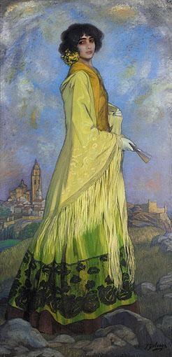 """""""Candida en Amarillo""""   by Ignacio Zuloaga   (1909)"""