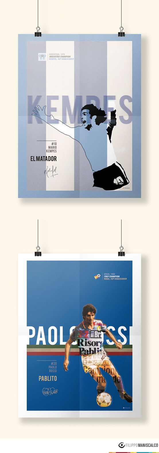 Collection of eleven illustrations on the players of the World Cup in 40 years. Inside each poster there is a feeling that there always exist. #HistoryofWorldCup #MarioKempes #PaoloRossi #Argentina78 #Spagna82