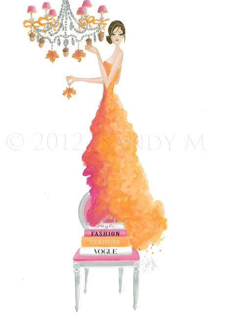 "Autumn Ballgown illustration on the ""Welcome Fall Party"" post on Ooh La Frou Frou, the blog of illustrator SANDY M."