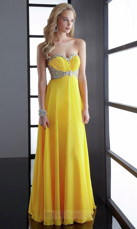Stunning A-line Sweetheart Floor-length Chiffon Yellow Prom Dresses