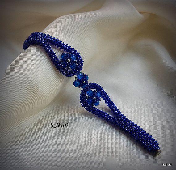 Beaded royal blue bracelet seed bead bracelet unique by Szikati, $45.00