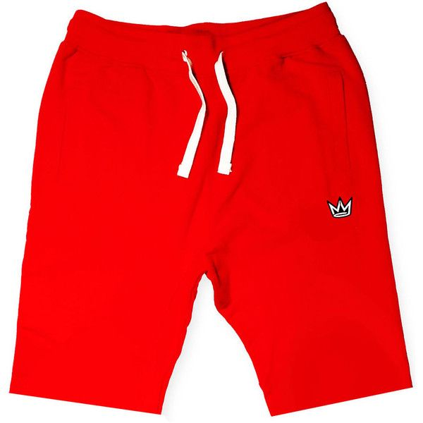 NY STATE OF MIND Drop Crotch Jogger Sweatshorts ($45) ❤ liked on Polyvore featuring mens, men's clothing, men's activewear and red