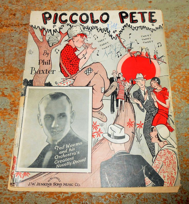"Vintage Music Sheet ""Piccolo Pete"" Ted Weems Old Music Score Sheet Music Scrap Book Supplies Paper Ephemera"