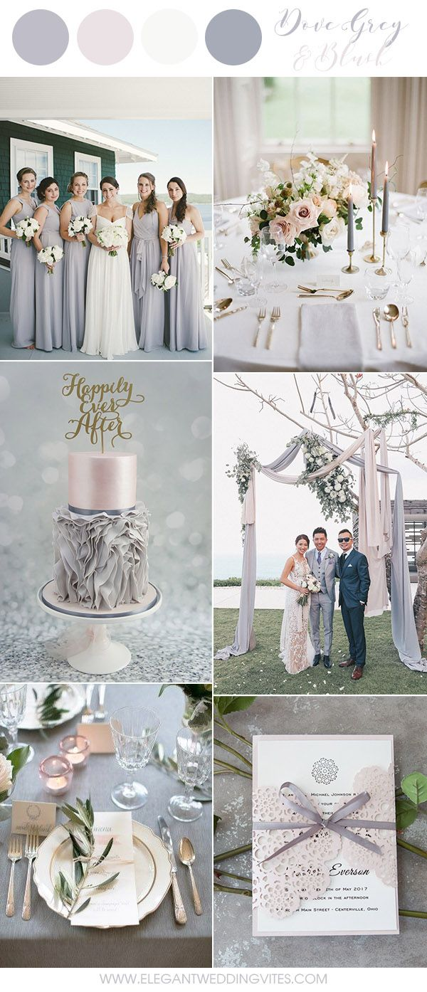 Dove Grey and Blue Pink Romantic Wedding Color Ideas