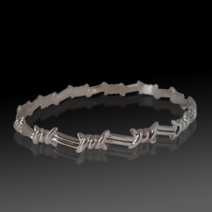white gold barbed wire bangle