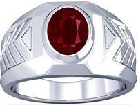 Platinum Oval Cut Ruby Mens Ring