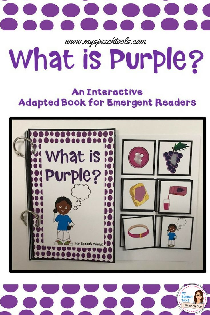 """""""What is Purple"""" Adapted Interactive Book for Emergent Readers, special education, speech therapy, and autism. Target basic vocabulary, print awareness, with early readers."""
