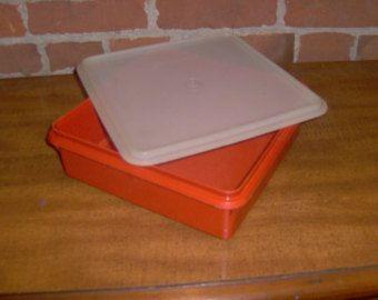 """Conteneur de stockage Tupperware VINTAGE Paprika rouge 9 """"Snack carré # 514-4"""