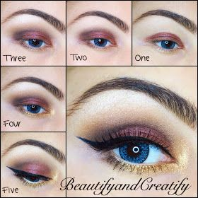 PRIME 1. Apply plum all over the mobile lid. 2. Apply dark brown on the outer V and drag towards the outer part of lower lashline 3. Use light brown to blend out dark brown by defining a crease 4. Apply gold on the inner corner of the eye and 2/3 of lower lashline 5. Finish with liner, mascara, falsies, and nude pencil in waterline, if desired
