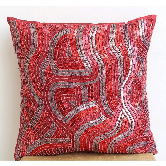 Designer Red Decorative Pillows Cover 16x16 Silk