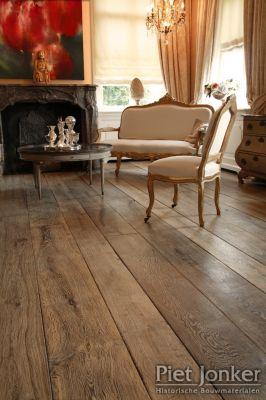 Vloer van oude houten planken, schitterend!