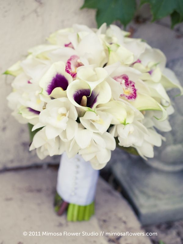 orchid, calla and hydrangea bouquet