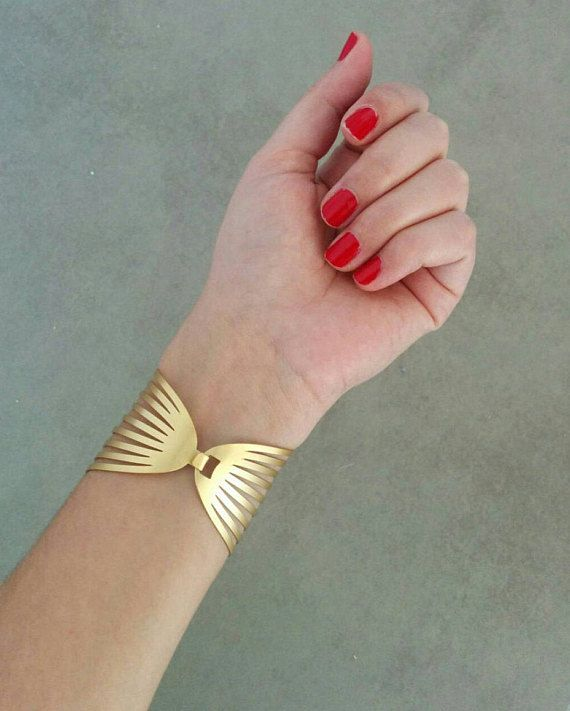 Gold Cuff Bracelet, Gold Bracelet, Cuff Bracelet, Gold Cuff, Bangle Bracelet, Wedding Jewelry, Bridal Bracelet, Wide Cuff Bracelet, Cuff  Stunning iconic bracelet that will upgrade any look ! Unique Golden Strips Cuff Bracelet, Made of 24k gold plated brass base, matte finished  Dimensions: Diameter: 2.3 inch / 6 cm Width: 1.77 inch / 4.5 cm