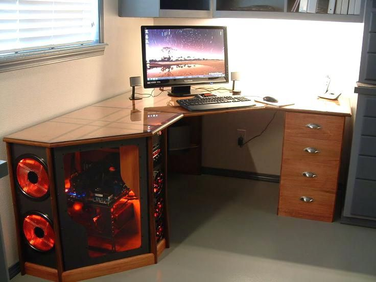 Computer Desk With Tower Storage Nice Wood Desk Workstation With
