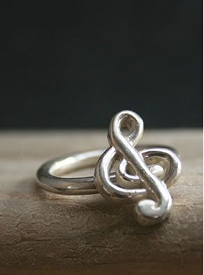 Music Note Ring Sterling Silver