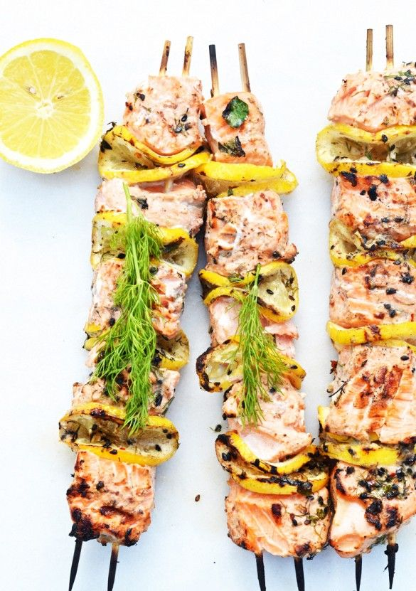 11 Easy Appetizers For Summer Entertaining // Grilled Salmon Kebabs
