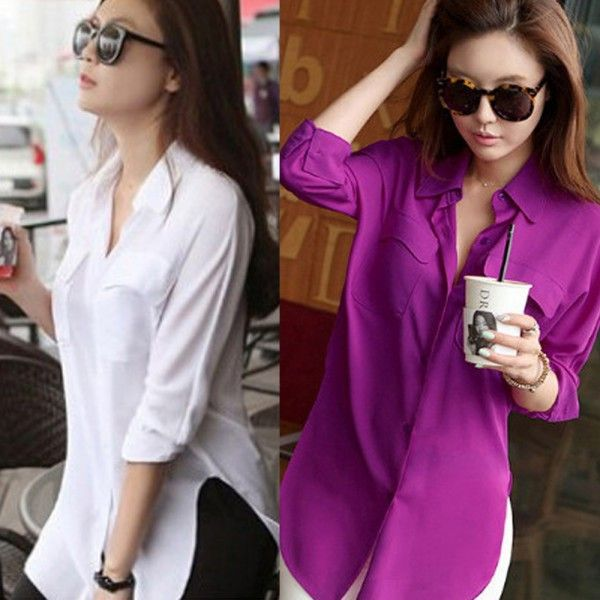 Cheap&High Quality Fashion Womens Long Sleeve Chiffon Shirt Turn-down Collar Casual Loose Tops Blouse