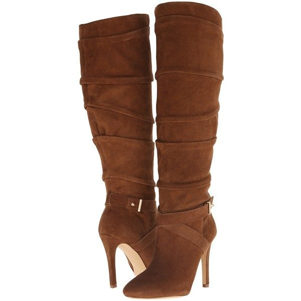 GUESS Daris Women's Dress Boots, Brown ($158) ❤ liked on Polyvore featuring shoes, boots, brown, knee-high boots, guess? boots, faux suede knee high boots, brown high heel boots, faux-suede boots and suede boots