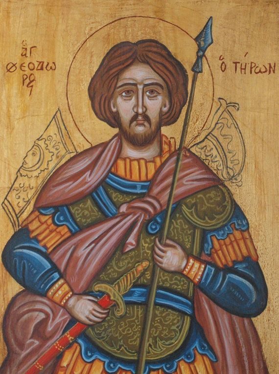 Saint Theodore the Tyro, the Recruit- Byzantine icon of the Great Martyr -Military saints of Orthodoxy Greek religious art icons iconography