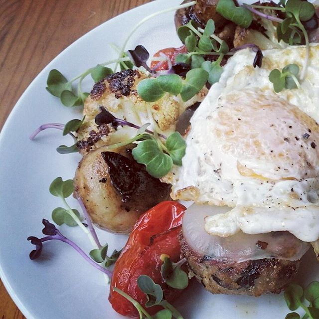 Weekend Brunch: Sautéed Balsamic - Maple Vegetables, Meatball, Fried Egg. #vcbfood #eattheworld