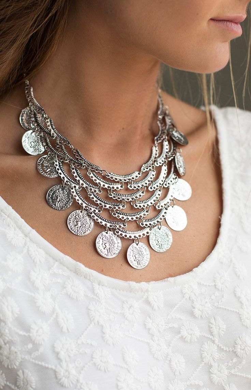 Turkish Delight Coin Necklace Silver | Beginning Boutique  #bbfest #beginningboutique