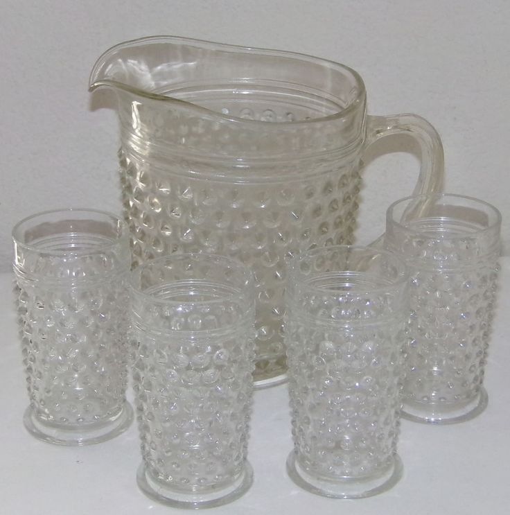 5pc Vintage Clear Hobnail Glass Pitcher Tumblers Juice Water Tea Glasses Pitcher #DepressionGlass