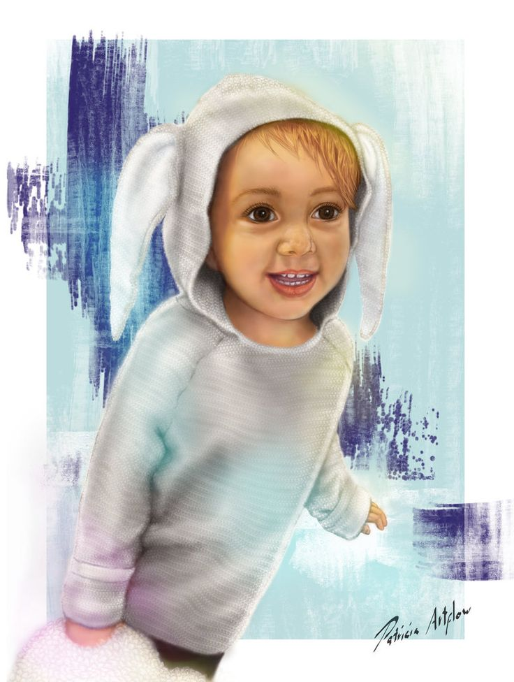 Digital art, painting of a cute baby with a bunny sweater