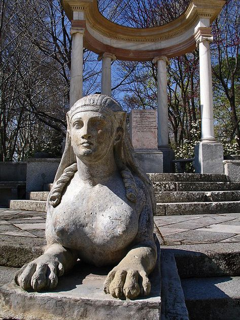 Awesome Egyptian Revival Sphinx Garden Statue Parque Del Capricho In Madrid Spain