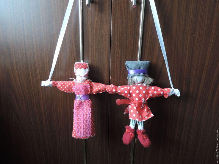 """Купить Кукла-оберег """"Неразлучники"""" - ярко-красный, свадебный подарок, любовь, счастье в дом, вместе"""