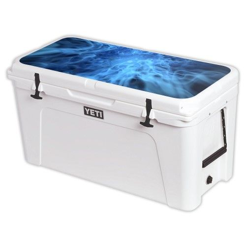Skin Decal Wrap for Yeti Tundra 125 qt Cooler Lid cover Blue Mystic Flames