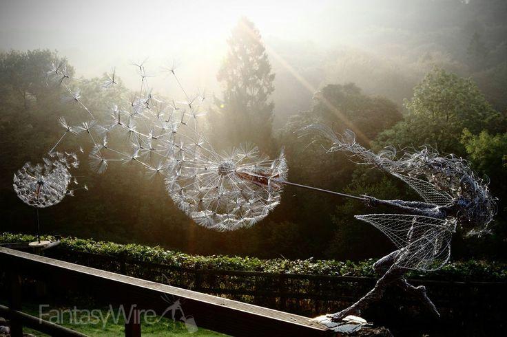 "Wire Fairy Sculpture ""Dancing with dandelions"""