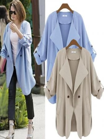 Casual Lapel Buttons Folded Sleeve Loose Cardigan