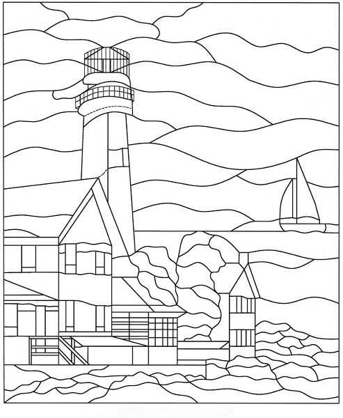 Fenwick Island Lighthouse Faux Privacy Stained Glass Clings and ...