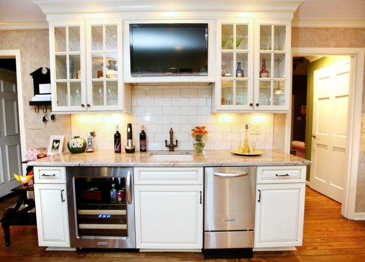 A Wet Bar Area With A Wine Refrigerator And Ice Maker ~ Kitchen Remodel