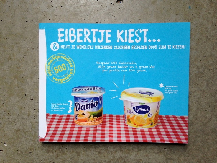 Must-have kado! In 1 oogopslag weet je welke produkten je wel of beter niet kiest om zo weinig mogelijk calorieen binnen te krijgen. Eibertje kiest 15 euro