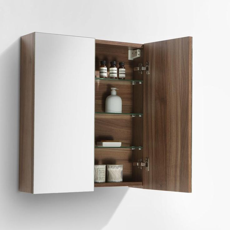 Armoire de toilette bloc-miroir SIENA largeur 60 cm, noyer - Le Monde du Bain